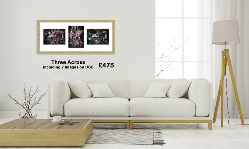 Pricing of a three-across-classic frame-in-room-set
